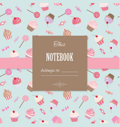 Cute template for scrapbook girly design vector
