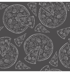 Doodle style pizza seamless background vector image vector image