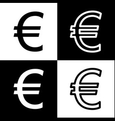 Euro sign black and white icons and line vector