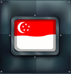 Flag of singapore on metalic background vector