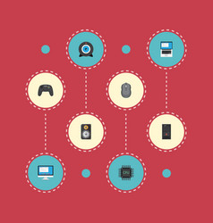 Flat icons display web cam microprocessor and vector