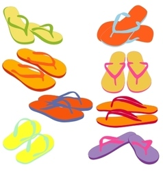 Flip flops colored silhouettes vector