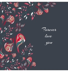 Floral doodle postcard vector
