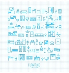 Furniture flat icons blue vector image