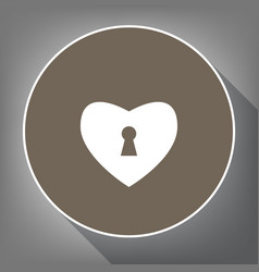 Heart with lock sign white icon on brown vector