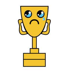 Kawaii cute crying prize cup vector