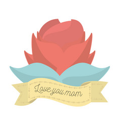 Love you mom red flower ornament decoration vector