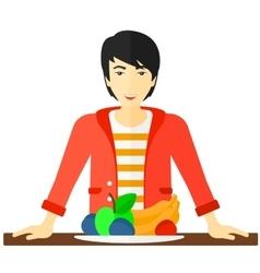 Man with healthy food vector