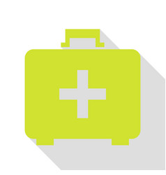 Medical first aid box sign pear icon with flat vector