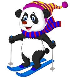 Panda cartoon skiing vector image vector image