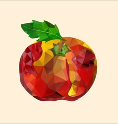 polygonal red apple vector image
