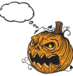 pumpkin head with thought bubble vector image vector image