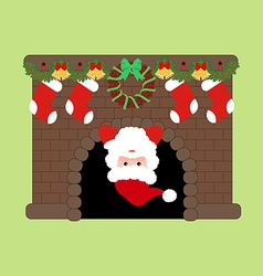Santa claus in fire place vector