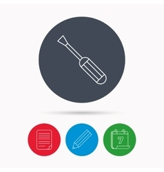 Screwdriver icon Repair or fix tool sign vector image vector image