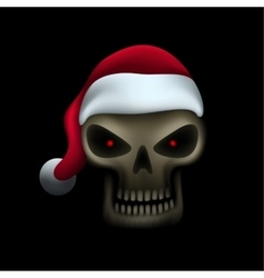 Skull in santa hat vector