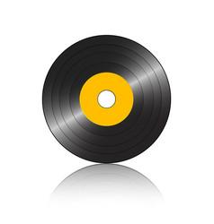 Small gramophone record orange reflection vector