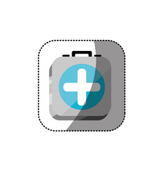 Sticker color square 3d button with first aid kit vector