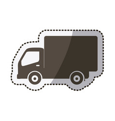 Sticker silhouette transport truck with wagon vector