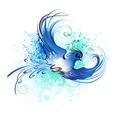 Watercolor blue bird vector
