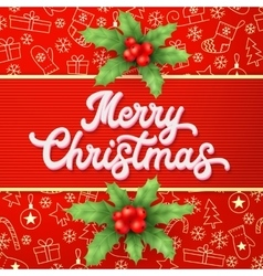 Xmas lettering and holly on red backdrop vector
