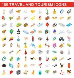 100 travel and tourism icons set isometric style vector image