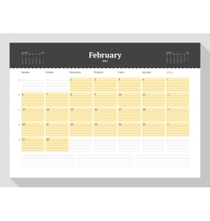 Calendar template for 2017 year february vector