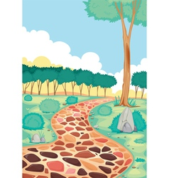 Landscape with coloured tiled road vector