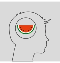 Silhouette head with tasty watermelon icon graphic vector