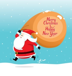 Santa claus with big sack running quickly vector