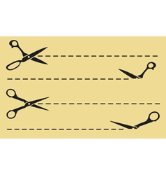 Scissors cut lines vector image