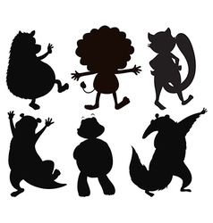 Silhouettes of different wild animals vector