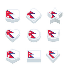 nepal flags icons and button set nine styles vector image