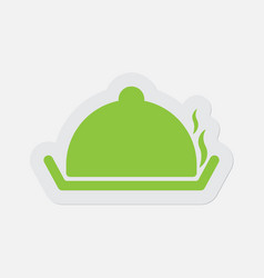 Simple green icon serving tray with lid and smoke vector