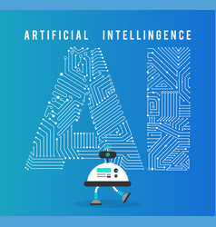 Robot with intelligence artificia concept vector