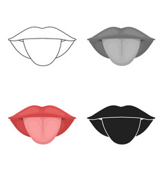Tongue icon in cartoon style isolated on white vector