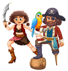 Pirate and his crew with weapon vector