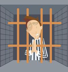 Man in jail cartoon vector