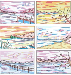 Sketches of coastal landscapes with trees vector