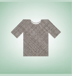 T-shirt sign   brown flax icon vector