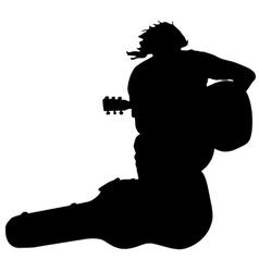 Silhouette musician guitar player sitting on the vector