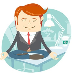 Office man meditating on his working desk vector