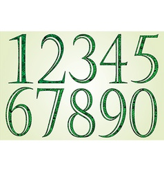 Collection of green numbers made of swirls vector