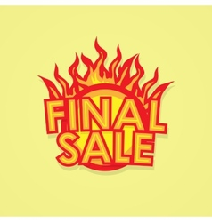 Sign sale offer with fire vector
