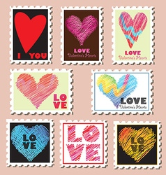 Set of valentines day postage stamps vector