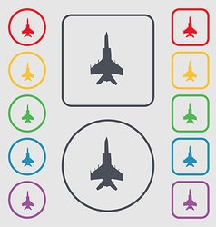 Fighter icon sign symbol on the round and square vector
