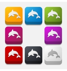 Square button dolphin vector