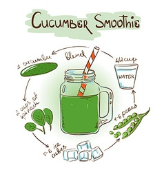 Sketch cucumber smoothie recipe vector