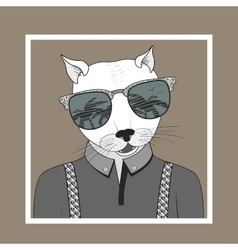 Fashion of dressed up cat vector