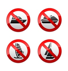 Set prohibited signs - water sports vector