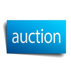 Auction blue square isolated paper sign on white vector